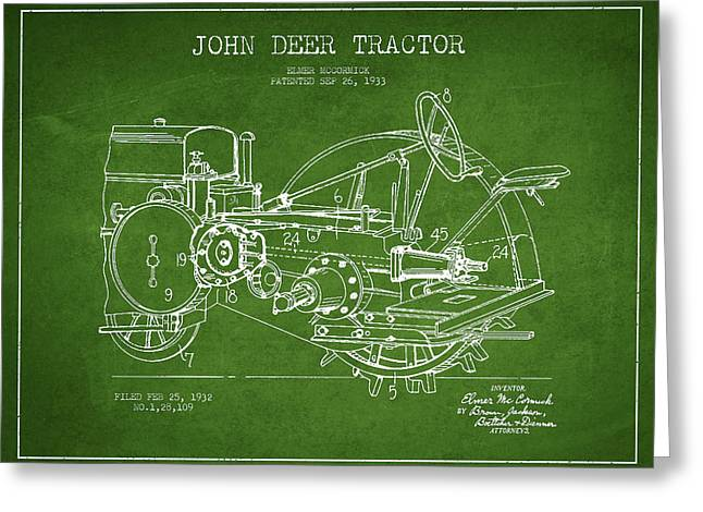 Old Tractors Greeting Cards - John Deer Tractor Patent drawing from 1933 - Green Greeting Card by Aged Pixel