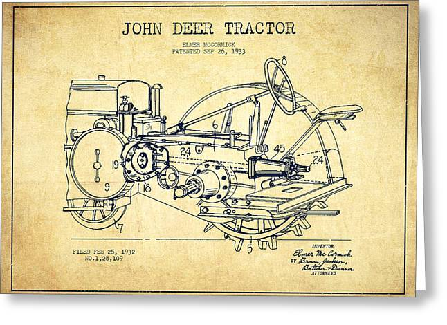 Old Tractors Greeting Cards - John Deer Tractor Patent drawing from 1933 - Vintage Greeting Card by Aged Pixel