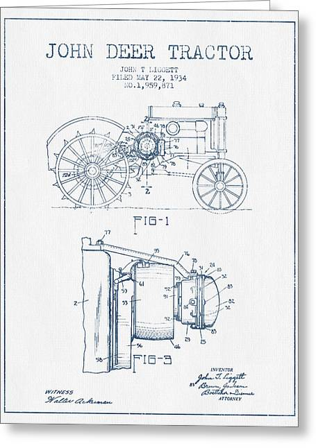 Old Tractors Greeting Cards - John Deer Tractor Patent drawing from 1934- Blue Ink Greeting Card by Aged Pixel