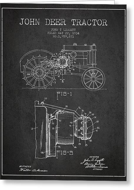 Old Tractors Greeting Cards - John Deer Tractor Patent drawing from 1934 - Dark Greeting Card by Aged Pixel