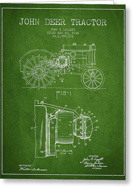 Old Tractors Greeting Cards - John Deer Tractor Patent drawing from 1934 - Green Greeting Card by Aged Pixel