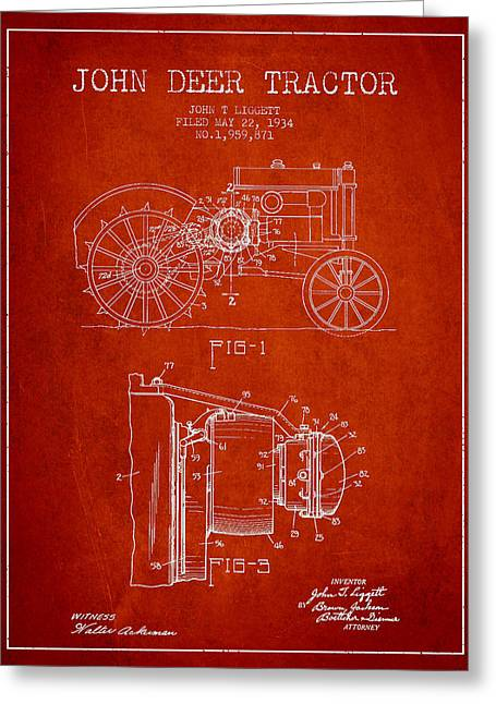 Old Tractors Greeting Cards - John Deer Tractor Patent drawing from 1934 - Red Greeting Card by Aged Pixel