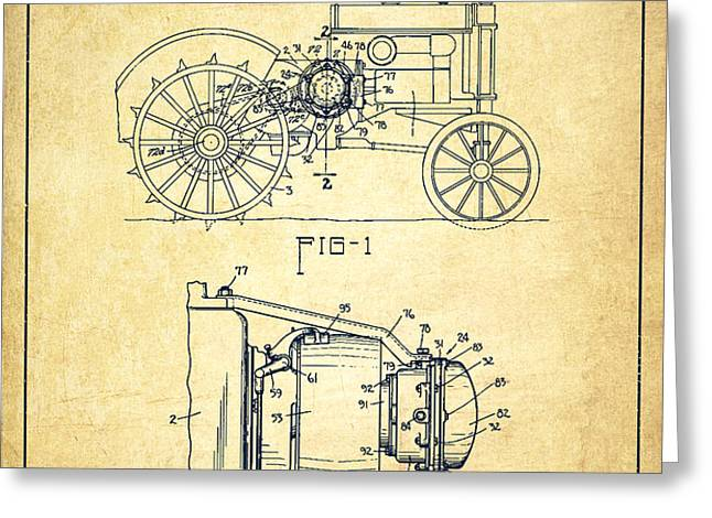 John Deer Tractor Patent drawing from 1934 - Vintage Greeting Card by Aged Pixel