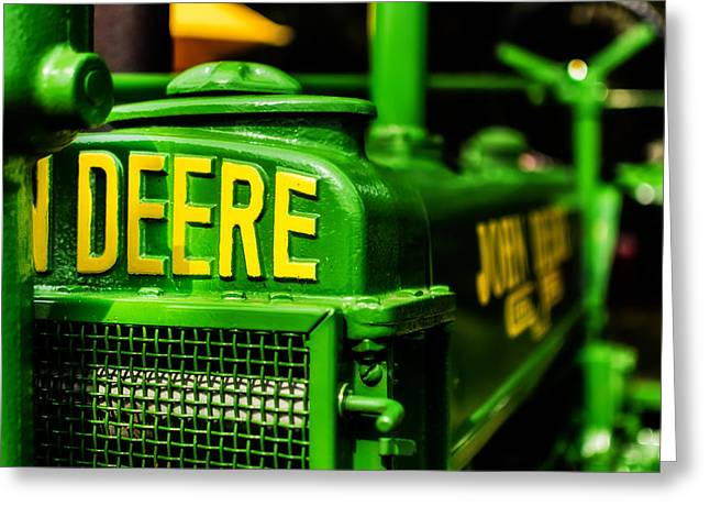 Green And Yellow Greeting Cards - John Deere 1935 General Purpose Tractor Grill Detail Greeting Card by Jon Woodhams