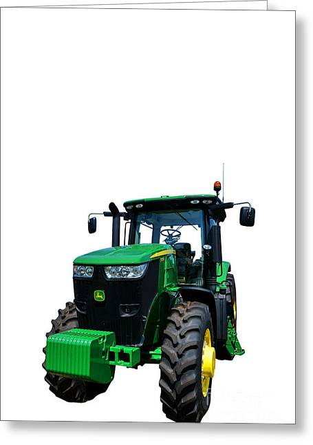 Machine Photographs Greeting Cards - John Deere 7215R Greeting Card by Olivier Le Queinec