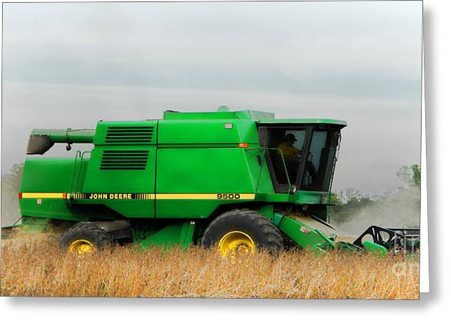 John Deere Greeting Cards - John Deere 9500 Greeting Card by Olivier Le Queinec