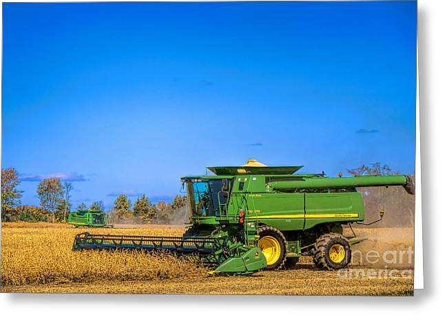 Harvesting Greeting Cards - John Deere 9770 Greeting Card by Olivier Le Queinec