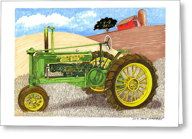 Stretching Drawings Greeting Cards - John Deere at rest Greeting Card by Jack Pumphrey
