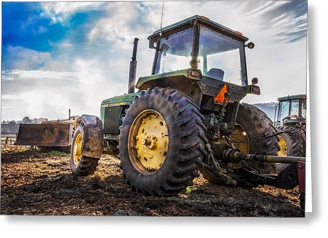 Wagon Wheels Greeting Cards - John Deere at the Farm Greeting Card by Debra and Dave Vanderlaan