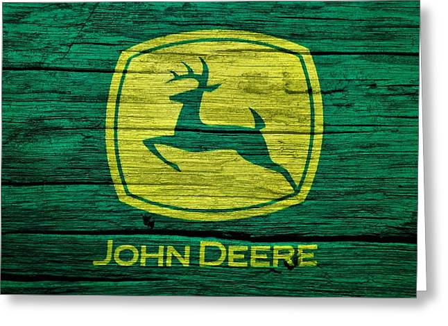 Barn Door Greeting Cards - John Deere Barn Door Greeting Card by Dan Sproul