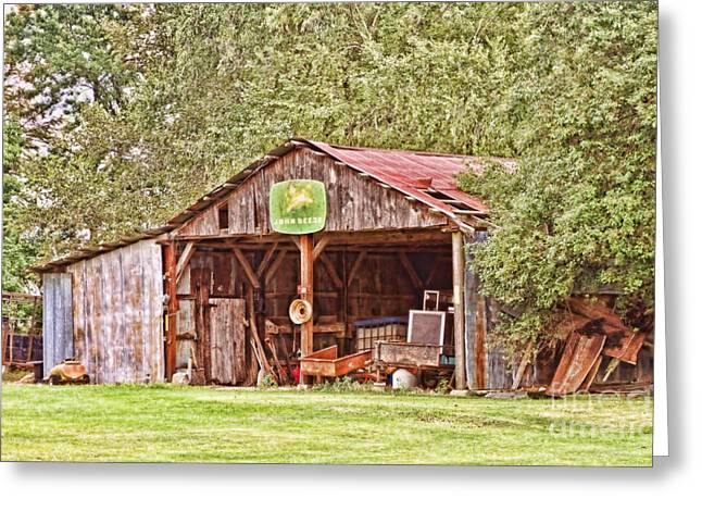 Rusty Tin Roof Greeting Cards - John Deere Barn Greeting Card by Scott Pellegrin