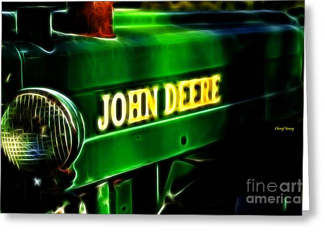 Cheryl Young Greeting Cards - John Deere Greeting Card by Cheryl Young