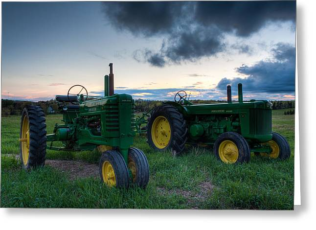 Recently Sold -  - Industrial Background Greeting Cards - John Deere Model B and R Tractors Greeting Card by Matt Dobson