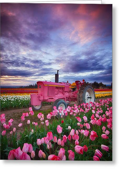 Recently Sold -  - Darren Greeting Cards - John Deere Pink Greeting Card by Darren  White