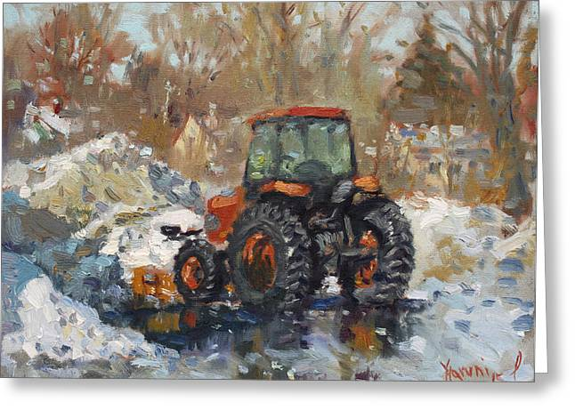 Plows Greeting Cards - John Deere Taking a Brake Greeting Card by Ylli Haruni