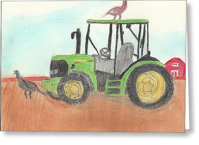 Farming Pastels Greeting Cards - John Deere Thanksgiving Greeting Card by Ron Retsky