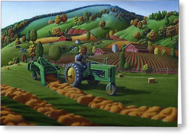 Folk Realism Greeting Cards - John Deere Tractor Baling Hay Farm Folk Art Landscape - Vintage - Americana Decor -  Painting Greeting Card by Walt Curlee