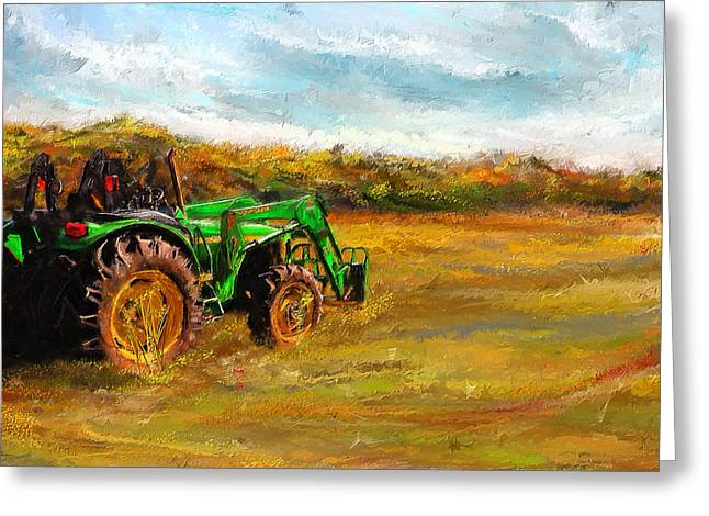 Harvest Art Greeting Cards - John Deere Tractor- John Deere Art Greeting Card by Lourry Legarde