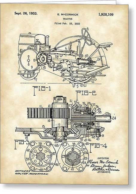 Plowing Field Greeting Cards - John Deere Tractor Patent 1932 - Vintage Greeting Card by Stephen Younts