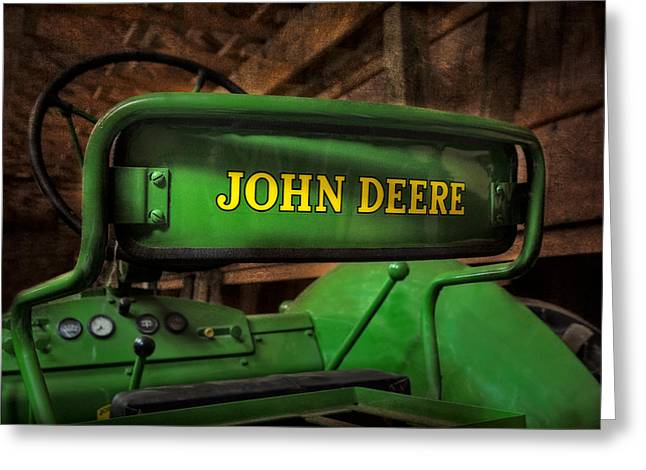 John Deere Tractor Greeting Card by Susan Candelario