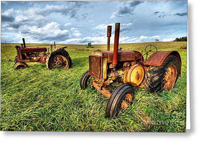 Pasture Framed Prints Greeting Cards - John Deere Tractors I - Blue Ridge Greeting Card by Dan Carmichael