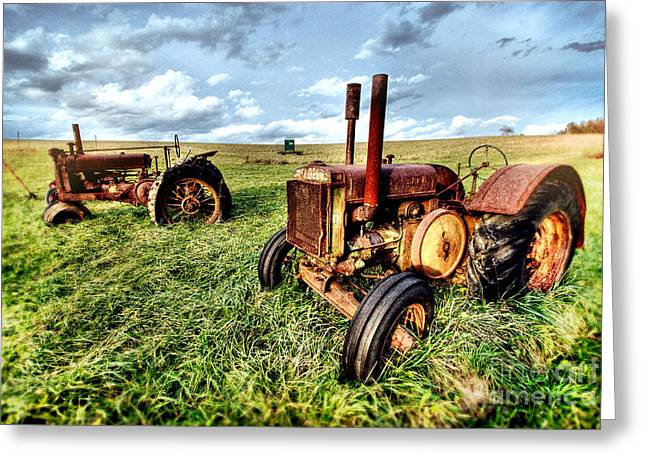 Pasture Framed Prints Greeting Cards - John Deere Tractors II - Blue Ridge Greeting Card by Dan Carmichael