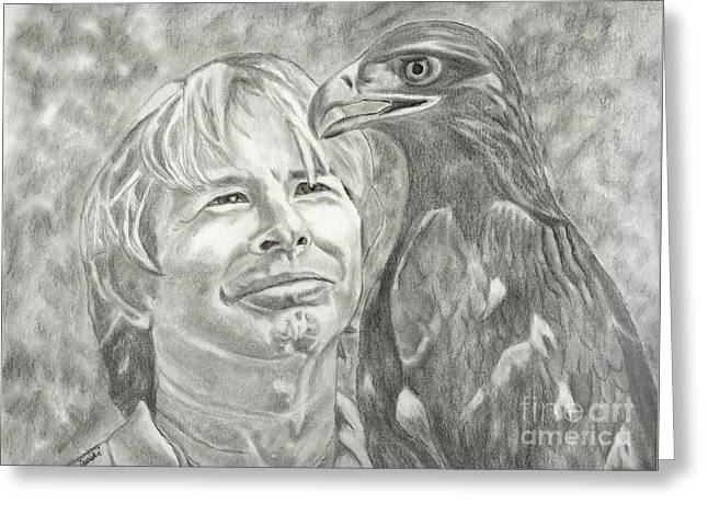 Celebrity Portraits Pastels Greeting Cards - John Denver and Friend Greeting Card by Carol Wisniewski