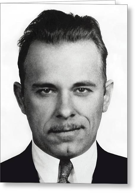 Mustache Greeting Cards - John Dillinger Mugshot Greeting Card by Daniel Hagerman