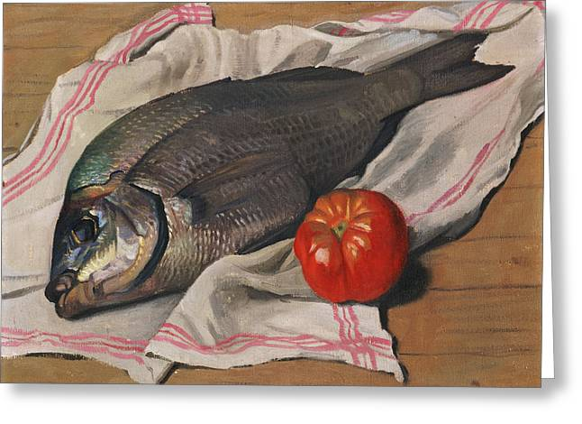Wooden Fish Greeting Cards - John Dory Greeting Card by Felix Edouard Vallotton