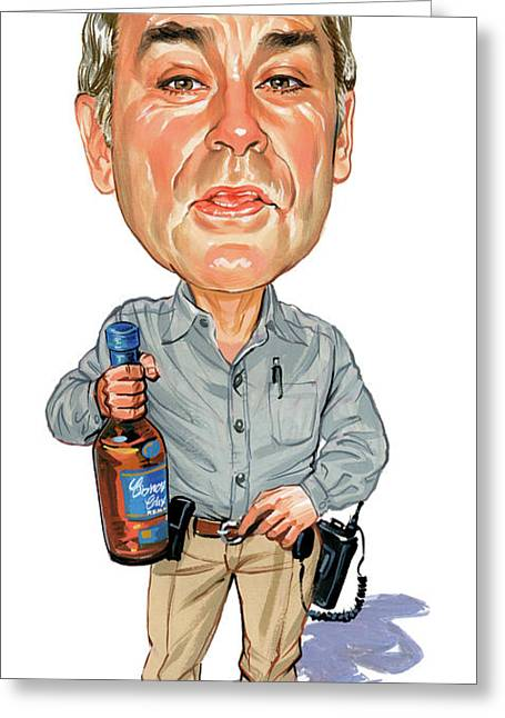 Art Glass Greeting Cards - John Dunsworth as Jim Lahey Greeting Card by Art
