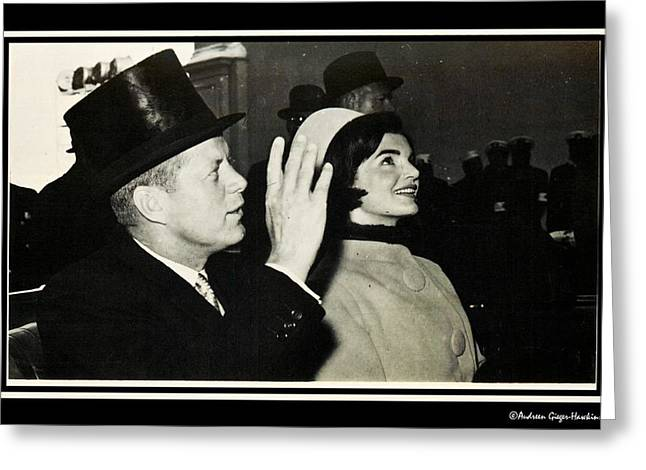 Politician�s Wives Greeting Cards - John F Kennedy and Jacqueline after his taking Oath Greeting Card by Audreen Gieger-Hawkins