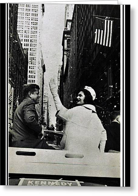 John F Kennedy And Jacqueline Ticker Tape Parade Greeting Card by Audreen Gieger-Hawkins