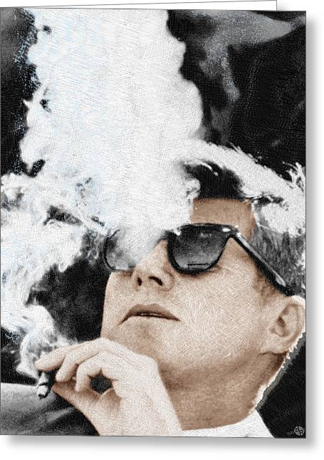 White House Prints Greeting Cards - John F Kennedy Cigar and Sunglasses Greeting Card by Tony Rubino