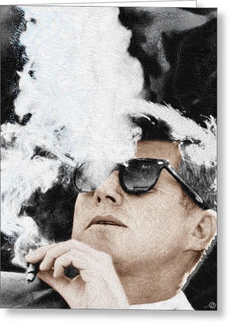 Smoke Mixed Media Greeting Cards - John F Kennedy Cigar and Sunglasses Greeting Card by Tony Rubino