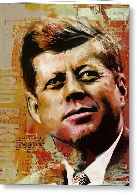 Global Greens Greeting Cards - John F. Kennedy Greeting Card by Corporate Art Task Force