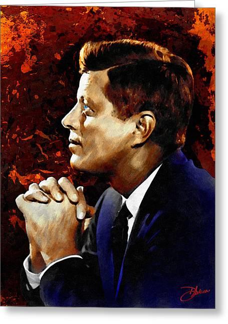4th July Digital Art Greeting Cards - John F. Kennedy Greeting Card by Dancin Artworks