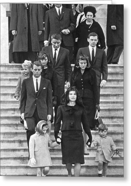 First Lady And President Greeting Cards - John F. Kennedy Funeral Greeting Card by Underwood Archives