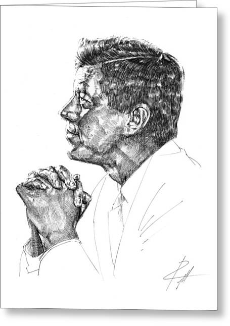 President Of America Drawings Greeting Cards - John F. Kennedy Greeting Card by  Gerald Piggott