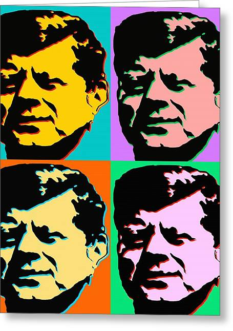 Politics Prints Digital Art Greeting Cards - John F Kennedy - Modern Pop Art Greeting Card by Peter Fine Art Gallery  - Paintings Photos Digital Art