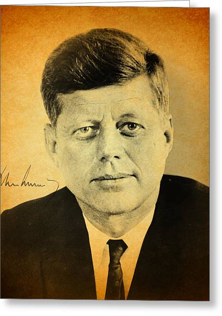 Signature Greeting Cards - John F Kennedy Portrait and Signature Greeting Card by Design Turnpike