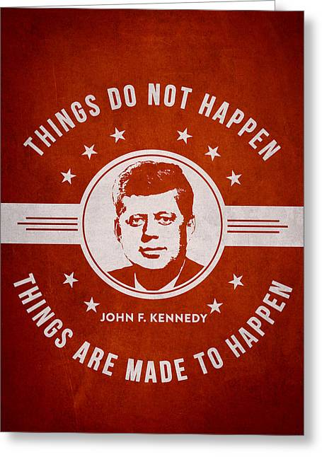 Portrait Digital Greeting Cards - John F Kennedy - Red Greeting Card by Aged Pixel