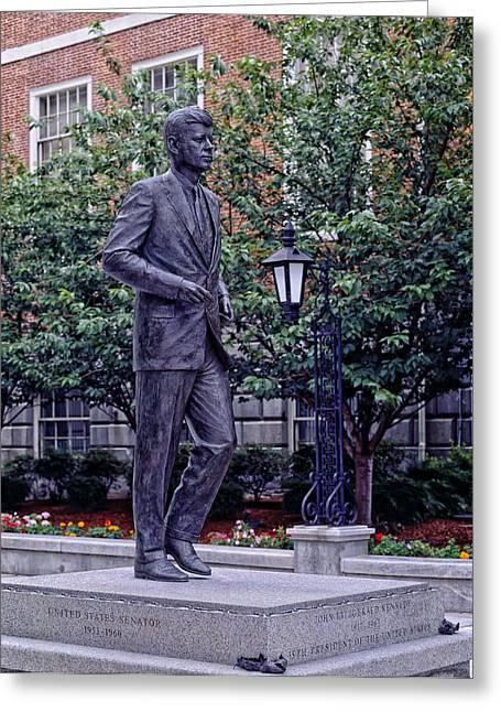 Senator Kennedy Greeting Cards - John F Kennedy Statue Greeting Card by Mountain Dreams
