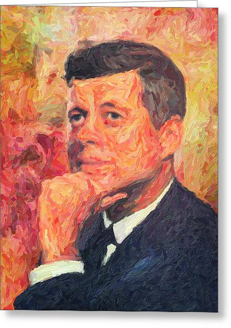 Us Election Greeting Cards - John F Kennedy Greeting Card by Taylan Soyturk