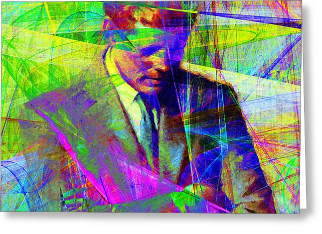 President Of America Greeting Cards - John Fitzgerald Kennedy JFK In Abstract 20130610v2 square Greeting Card by Wingsdomain Art and Photography