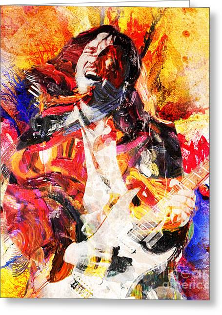 Rock N Roll Greeting Cards - John Frusciante - Red Hot Chili Peppers Original Painting Print Greeting Card by Ryan RockChromatic
