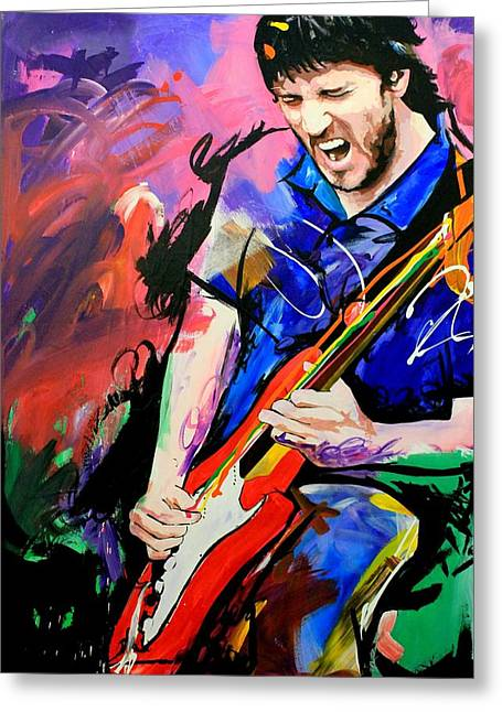 Fender Strat Greeting Cards - John Frusciante Greeting Card by Richard Day