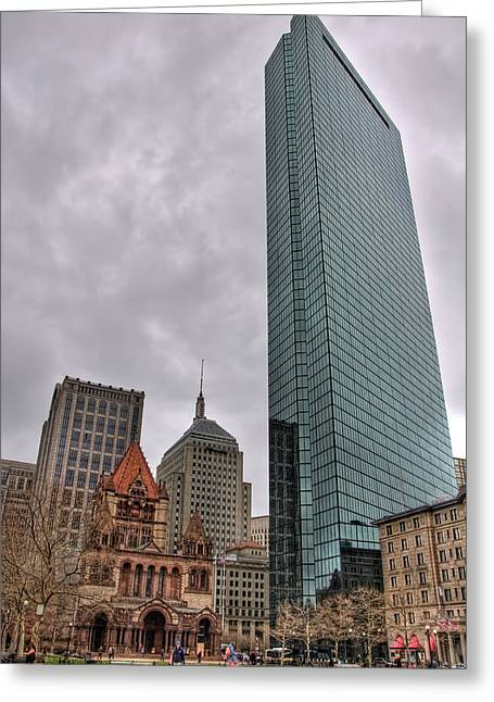 Spring Scenes Greeting Cards - John Hancock and Trinity Church - Boston Greeting Card by Joann Vitali