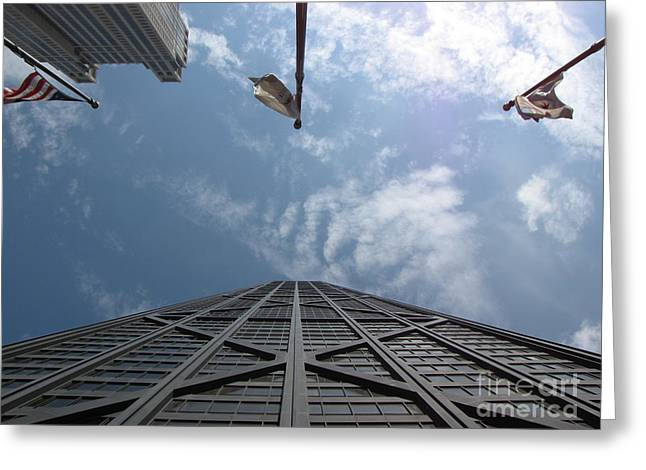 Magnificent Mile Greeting Cards - John Hancock Center Greeting Card by Ben Schumin
