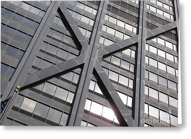 Magnificent Mile Greeting Cards - John Hancock Center exterior Greeting Card by Ben Schumin