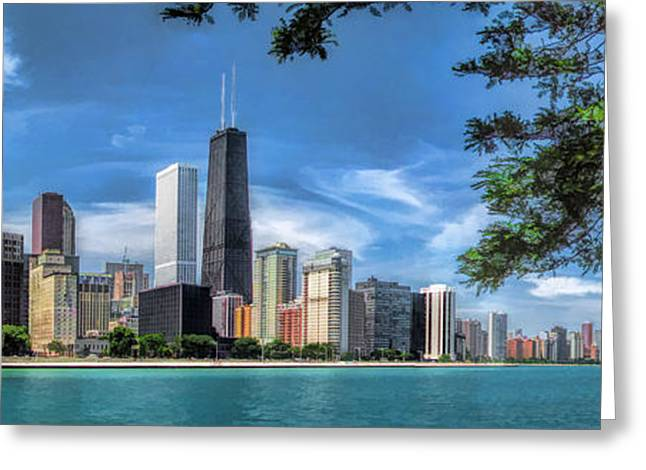 Chicago Paintings Greeting Cards - John Hancock Chicago Skyline Panorama Greeting Card by Christopher Arndt